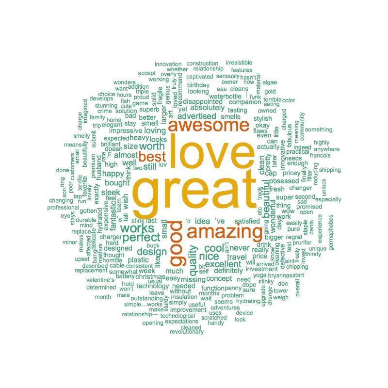 Positive LARQ Bottle Word Cloud