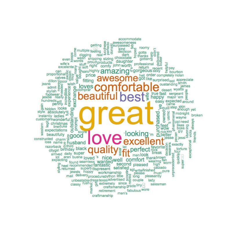 Positive Tecovas Ostrich Boots Word Cloud