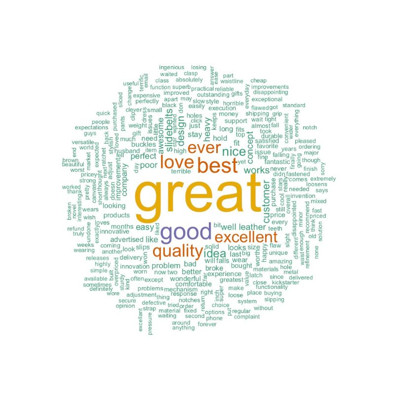 Positive SlidebBelts Word Cloud