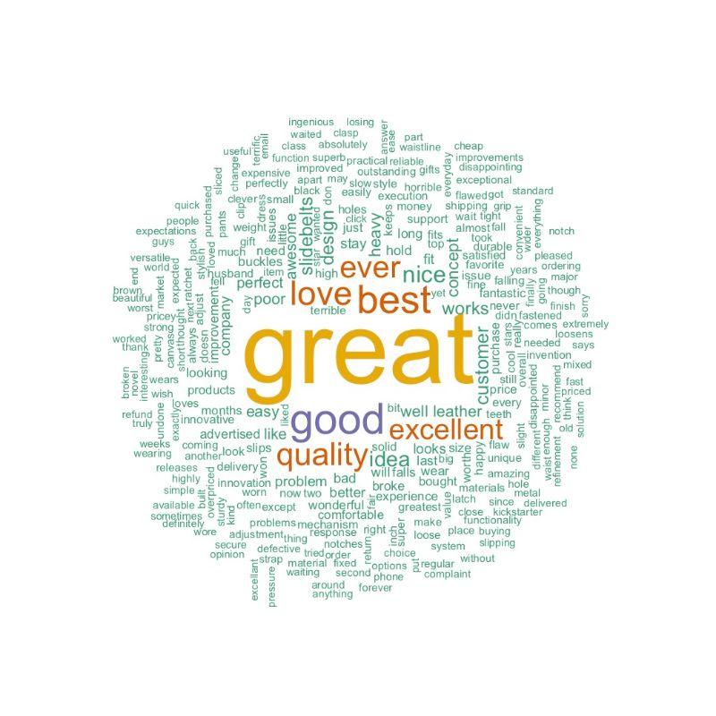 Positive SlidebBelts Word Cloud